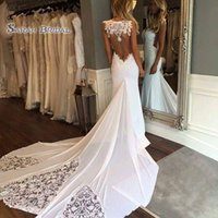 Wholesale ivory silk beach wedding dresses for sale - Group buy 2020 White Sexy Beach Mermaid Wedding Dresses Sleeveless Lace Backless Bridal Gowns Plus Size robes de mariée