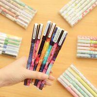casusluk kalemleri toptan satış-Karikatür Yıldız Jel Kalem Yaratıcı Ofisi Noel Hediyesi Çocuk Hediye Kutulu Starry Sky Jel Kalem 6 adet çok Malzemeleri