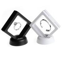 vitrinas para anéis venda por atacado-Branco preto Anel de Jóias Pingente Display Stand Suspenso Flutuante Vitrine Moedas Jóias Gemas Artefatos Caixas De Embalagem