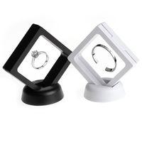 ingrosso scatola portagioie per gioielli-Espositore pendente per anello gioielli bianco nero Espositore galleggiante sospeso Espositore per gioielli Monete Gemme Artefatti Scatole per imballaggio