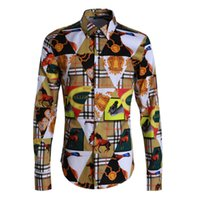 gestreifte kleidfarbe großhandel-2019 Plaid Print Gestreifte Farbe Luxus Casual New Fashion Langarm Herren Designer Hemden Slim Fit Herren Business Hemden Tops M-4XL