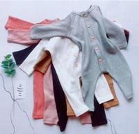 menina de mamãe bebê algodão venda por atacado-Roupas de bebê menina romper 100% algodão O Pescoço Com Botão de Design de Manga Longa Cor Sólida romper menina Menino Infantil Primavera Queda Romper