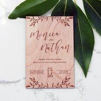 gravierte hochzeitseinladungen großhandel-Holz / Holz gravierte Hochzeits-Einladungen