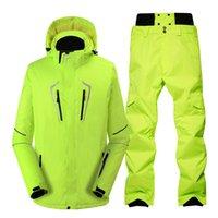 combinaison de ski verte achat en gros de-Vert fluorescent costume de ski imperméable au vent hiver vestes de neige en plein air + pantalon professionnel costume de snowboard définit hommes
