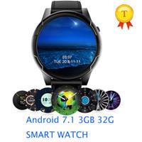 смартфоны с большим экраном оптовых-2019  4g Men android 7.1 Smart phone Watch 3GB 32GB ROM IP67 Waterproof big screen Smart wrist watch pk ticwatch 2 KW88 i8