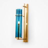 ingrosso pareti di bronzo-Creative Design Wall Sconce Lighting Lampada da parete in vetro blu paralume Lampada da parete a LED in bronzo dorato per camera da letto