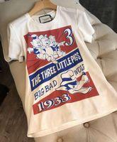 ingrosso piccoli maiali-19SS NEW Womens Designer T-shirt uomo Maialino Ricamo Paillettes lettere t-shirt Tre maialini Big bad Wolf Casual girocollo tee