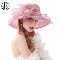 Wholesale pink hat organza resale online - Fs Summer Organza Fascinator Hat Foldable Wedding Church Dresses Kentucky Derby Hats For Women Elegant Pink Wide Brim Fedora vRqie