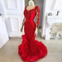 Wholesale long sleeve spandex prom dress resale online - 2020 New Arrival Sexy Red Evening Dresses Sheer Scoop Neck Lace Appliques Beaded Long Sleeves Ruffle Sweep Train Plus Size Party Prom Gowns