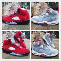 zapatillas únicas al por mayor-2019 zapatos de baloncesto CALIENTES 5S NRG High New Fashion Ice Blue Red Unique Running Diseñadores para hombre Calzado deportivo