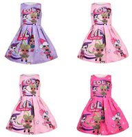 ingrosso un cotone della ragazza del vestito da un pezzo-Bambini Surprise Girls senza maniche Princess Dress Cartoon Cute One-piece Dress Jacquard con bambini in cotone Gonne Party indossando abiti C445