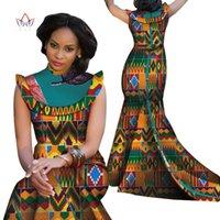 ingrosso stampe africane sirena abiti-2019 Fashion Bazin Riche Abiti africani per la donna Stampa Splice Stand Neck Mermaid Abiti Dashiki vestiti della signora africana WY4309