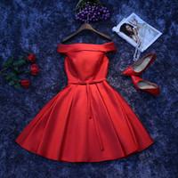 toast kleidung großhandel-Toast Kleidung Braut kurzen Sommer Hochzeitskleid Wort Schulter Verlobungskleid Abend S-XXL