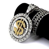 joyería de aleación de calidad al por mayor-Fashion High Street Cadena de plata para hombres estilo clásico dólar colgante collar de joyería de aleación de zinc de calidad superior