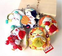 image de tissu achat en gros de-Japon mignon Style Lucky Cat Une Variété De Image Zero Wallet Cloth Coin Puses Sac Femmes Étudiant Cadeau Nouveau