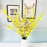 ingrosso orchidee di seta gialle-finto orchidea fiori decorativi di seta orchidea gialla fiori artificiali 5 rami che ballano l'orchidea per la decorazione natalizia