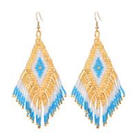 pendientes de cristal vintage al por mayor-ZMZY Rhombus étnico de las mujeres perlas de cristal pendientes de gota de la borla de joyería de moda Vintage Gypsy Boho pendientes Jhumka