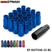 EPMAN MT V48 Auto Steel Acorn Rim Extended Open End Wheel Racing Lug Nuts With One Key M12X1.5 20pcs EP-NUTV48-15