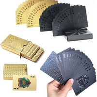Wholesale drawing paper art resale online - New Golden Black Matte Plastic Poker Cards Waterproof PET Waterproof Playing Cards for Table Games