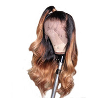 Wholesale wig color 1b 27 resale online - Ombre B lace Front Human Hair Wigs With Baby Hair Brazilian Body Wave Remy Lace Front Wig Bleached Knots