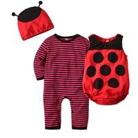 kırmızı bebek şapkası toptan satış-Bebek Cadılar Bayramı Kostüm Arı Tulum Yürüyor Kostüm Uzun Kollu Bebek Tulum, kırmızı Yelek, arı Şapka, yenidoğan Erkek Bebek Kız Romper 3-24 m J190526