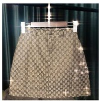 pantalones cortos de bling al por mayor-2019 Nuevo diseño moda mujer verano cintura alta a-line logo letra jacqaurd shinny bling rhinestone remiendo falda corta de lujo S M L XL