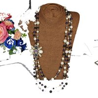boutique blusas mulheres venda por atacado-Outono e inverno pais pequena camisola cadeia perfumadas colar de pérolas com acessórios boutique diamantes das mulheres