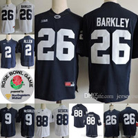 8af43cbb9 Penn State Nittany Lions  26 Saquon Barkley 2 Marcus Allen 88 Mike Gesicki   9 No Name Navy Blue White Stitched NCAA College Jerseys 01