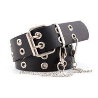 correa de cintura de las mujeres de la vendimia al por mayor-OLOME Vintage Punk Chain Belt Black Double Single Eyelet Ojal Cinturón de hebilla de cuero Mujer Damas Cintura Jeans Cinturones