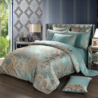 Wholesale jacquard luxury satin duvet bedding set resale online - New Jacquard Luxury Wedding Bedding Set Bed Linen Silk Cotton blue Duvet quilts Cover Lace Satin Bed Sheet Set Pillowcases