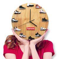 os relógios vibram venda por atacado-Aj sapatilhas relógio criativo voadores pessoas DIY relógios artesanais vibrando 14 polegadas presentes Elm Nordic relógio de parede minimalista estilo nórdico simples