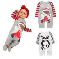 panda takım tulumları toptan satış-Pamuk Bebek Erkekler Kızlar Uzun Çizgili Romper Çizgili Panda Jumpsuit Giyim Yenidoğan Bebek Bebek Giyim Noel Kıyafet M645 kollu