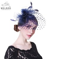 Wholesale black veil for fascinator resale online - WELROG Women Wedding Hats With Face Veil Bridal Headwear Nightclub Feathers Linen Hat for Brides Fascinator with Clips Hairband