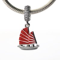 Wholesale chinese silver enamel resale online - Fits for pandora Snake chain bracelets necklace sterling silver beads Chinese Junk Ship Red Enamel Clear CZ NEW summer