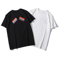 polo pour les hommes de luxe achat en gros de-Luxe Mens Designer T Shirt 19SS Hommes Femmes Casual Coton Impression arc-en-Drapeau Été T-shirt Polo Taille S-2XL