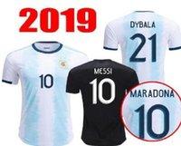 argentinien zuhause großhandel-2019 2020 Argentinien zuhause auswärts Jersey Argentinien MESSI DYBALA DI MARIA AGUERO HIGUAIN Trikot der Nationalmannschaft 19 20 Trikot