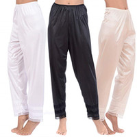 Wholesale black pyjama pants for sale - Group buy New Women Ladies Girls Hot Slip Night Pyjamas Solid Lace Splice Bottoms Lounge Pants Trousers Plus Size XXL