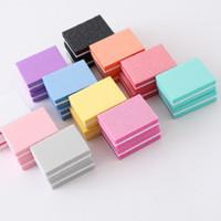 mini-nagel-dateiblöcke großhandel-20pcs / lot Doppelseitige Werkzeuge Mini Nagelfeile Pufferblöcke Bunte Schwamm-Nagellack-Schleifbänder Polier Maniküre