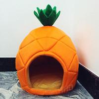 lits chat fraise achat en gros de-Creative Kennel Chat Nest Teddy Dog Fruit Banane Fraise Ananas Melon d'eau de lit en coton chaud Pet Products Pliable Dog House