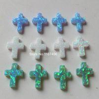 ingrosso perline di pietra acrilica della resina-5 pz / lotto OP06 / OP11 / OP17 Croce Opale Pietra 9x12mm Cross Fire Opal Forato Sintetico Croce Opale per la Collana