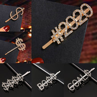 Wholesale hair clip claw clamp rhinestone resale online - New hair pins style Crystal Shiny Rhinestones Word Letters hair clip Women Styling Tool Hairgrip Diamond hair accessories Clip Clamp JJ19