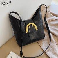Wholesale vintage winter handbag resale online - BXX Vintage PU Leather Bucket Bags For Women Winter Solid Color Crossbody Bag Female Shoulder Messenger Bag Handbags a249