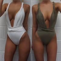 qualität bikinis umsatz großhandel-Frauen Sommer Bikini Backless Sleeveless Reine Farbe Dreieck Badeanzug Hochwertige Einfache Mode Bardian Weiche Badebekleidung Heißer Verkauf 16lmD1