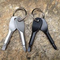 çok işlevli tornavidalar toptan satış-EDC İşlevli Tornavida Anahtar Şekli Paslanmaz Çelik Mini Oluklu Phillips Tornavidalar Anahtarlık Cep Onarım Aracı LJJZ492