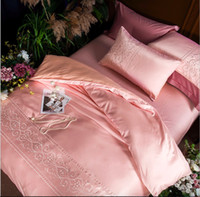 Wholesale Simple Style Modal a family of four bedding Set Satin Thin Silk Embroidered Duvet Cover set