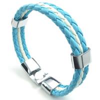 ingrosso braccialetto in pelle intrecciata blu blu-Bracciale in pelle blu Bracciale in lega bianca bandiera argentina intrecciata, con custodia in velluto