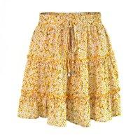 ingrosso vestito floreale dalla vita di goccia-Abiti moda-estate Floral Dot stampa Ruched Dress vita alta Ruffle Midi Skirt Summer Women vestiti Mini abiti Drop Ship