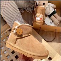 kış kar prenses çocuk ayakkabıları toptan satış-Çocuklar Kar IsınmaUGG Boots İçin Çocuk Yeni Bebek Kış Prenses Çocuk Kaymaz Düz Yuvarlak Burun Kız Bebek Güzel Çizme peluş Ayakkabı