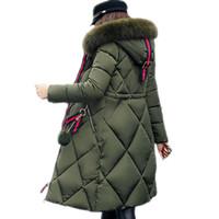 büyük parka ceketi kadın toptan satış-Büyük kürk kış ceket kalınlaşmış parka kadınlar dikiş İnce uzun kış coat aşağı pamuk bayanlar aşağı parka ceket kadın 2019
