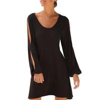 robes longues découpées noires achat en gros de-Femmes Noir Casual Robe Col rond Découpé À Manches Longues Robe solide Robe De Plage D'été Lâche #Rn